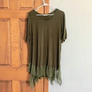Tops - Plus Size Olive Green Flowy Blouse Plus Size 2X